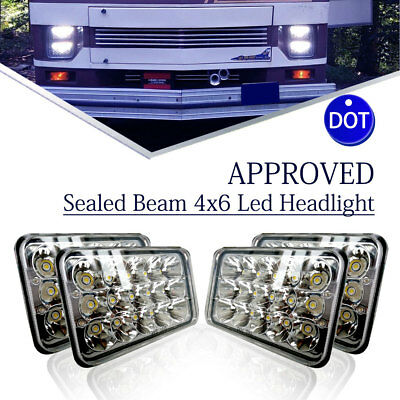 "4pcs DOT Approved 4x6"" Ret LED Headlights Sealed Beam for Chevy Monza 1977-1980"