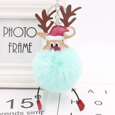 Christmas Fur Fluffy Keychain Pendant Key Ring Lovely Charm Jewelry Accessories