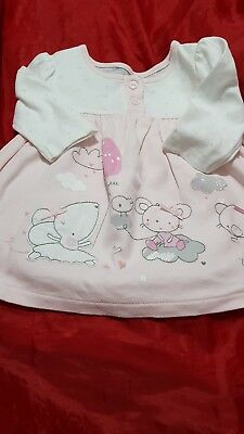 Lovely Girls Mothercare Long Sleeved Top Dress Age Up To 1 Month