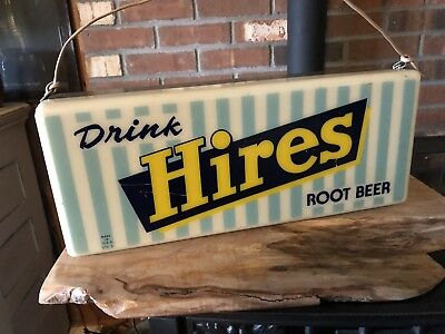 VINTAGE HIRES ROOT BEER LIGHTED WALL WORKING Condition