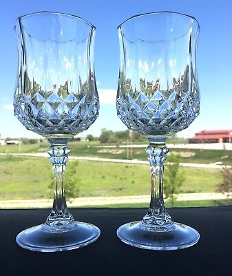 """Cristal d'Arques Durand, Lead Crystal Longchamp 7 1/4"""" Water Goblets, Set of 2"""