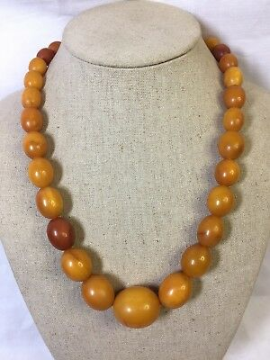 Antique Amber Bead Necklace Large Egg Yolk Superb Example 53 Gms 31 Beads 52 Cms