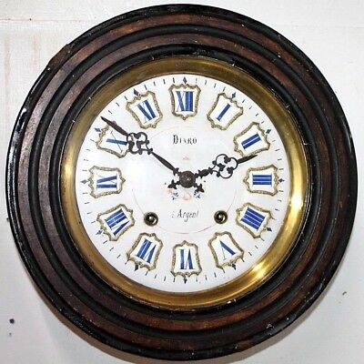 Antique French Gallery Wall Clock W/ Iron Strapped Morbier Mvmt & Porcelain Face