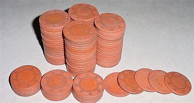 CASINO CLAY CHIP LOT 100 Orange ROULETTE GAME CHIPS 1970's-1990 Vintage Used