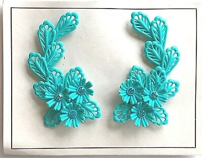 Vintage Earrings - Turquoise Flower Clip on Earrings with Turquoise Rhinestones