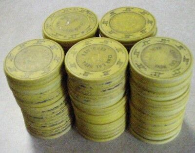 CASINO CLAY CHIP LOT 100 Yellow ROULETTE GAME CHIPS 1970's-1990 Vintage Used