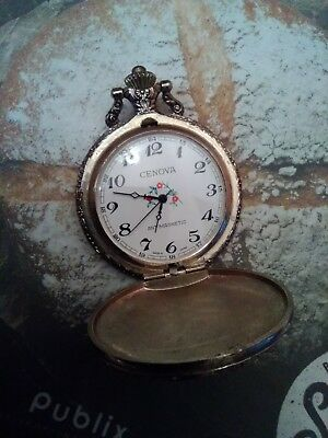 Cenova Pocket Watch Train Motif Antimagnetic , Works