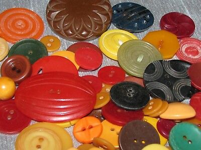 Vintage lot of 63 Bakelite & Plastic Colorful Fall Sewing Buttons Crafts