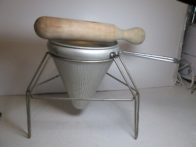 Vintage Aluminum Canning Sieve Strainer Colander with Wooden Pestle and Stand