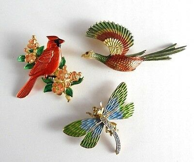 Lot Signed JJ Birds Dragonfly Vintage Estate Brooch Brooches Womens Jewelry 3