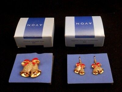Lovely 2-Pc Lot Avon Festive Holiday Earrings Sparkling Bell & Matching Pin Nos