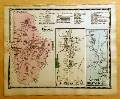 Original 1870 Map UPTON Hopedale NORTH MILFORD, MA Massachusetts BEERS Antique