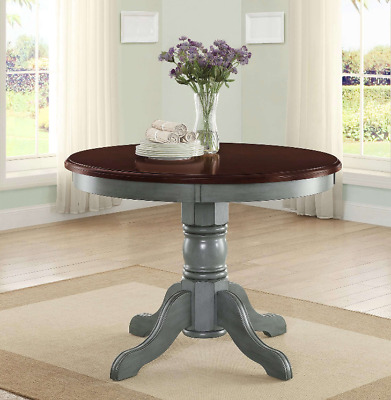 Round Pedestal Dining Table Kitchen Wood Painted Traditional Brown