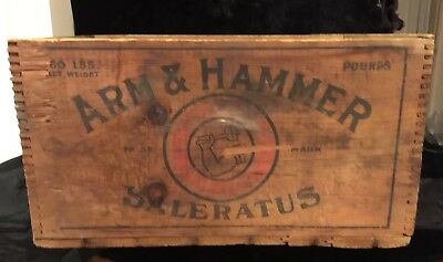 Antique Wood Crate Advertising, Arm & Hammer Soda Saleratus Church Dwight NY