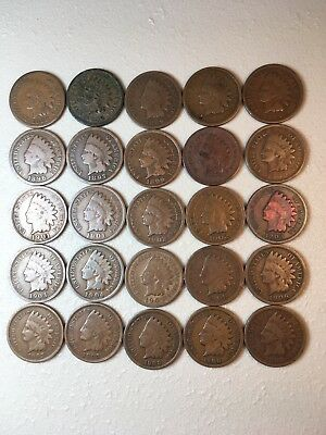 25 Indian Head Ih Pennies Cents Coin Collection Lot Old Rare 1883 1886 1889 1891