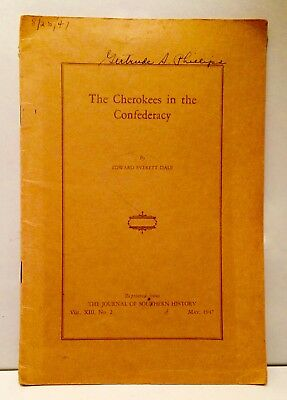 Collectible Book: 1947 The Cherokees In The Confederacy Native American History