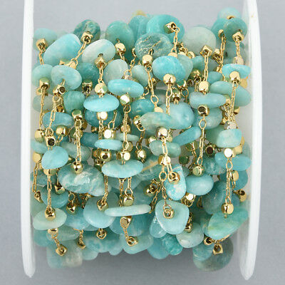 1 yard AMAZONITE Rosary Chain, gold links, gemstone chips beads, fch1058a