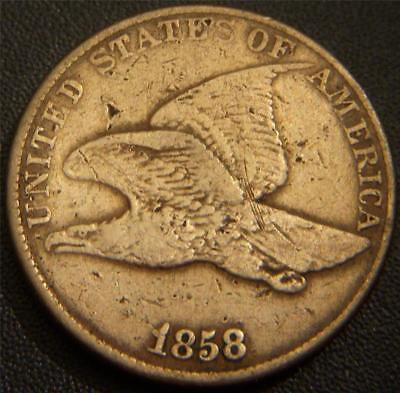 1858 Flying Eagle Cent - Large Letter Variety - Most Feather Details Show Eagle