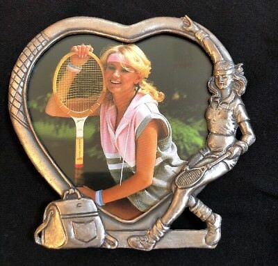 Heart Shape Pewter Metal 3-D Tennis Racquet Girl Picture Photo Frame Nib