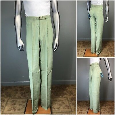 Vtg 50s Pants SMARTAIR Belted RAYON DACRON Nub Pleated Hollywood RAB NOS 29