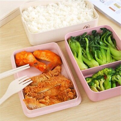 New Lunch Box Microwave Bento Case Tote Food Container Spoon & Chopsticks & Fork