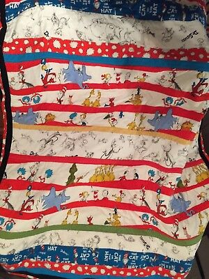 Dr. Seuss Characters Quilt. Baby/Lap Size. Striped Design. Handmade.
