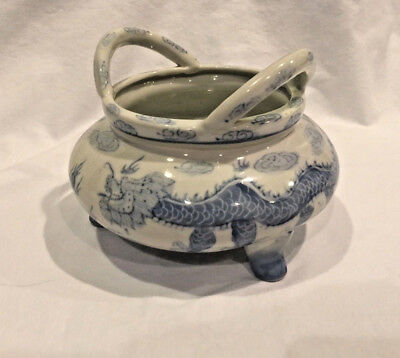 Antique Vintage Marked Asian 3 Legged Bowl 2 Handles Blue & White Dragon Clouds