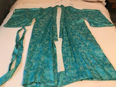 Japanese Kimono Robe Vintage mid 1960's Aqua With Gold Design