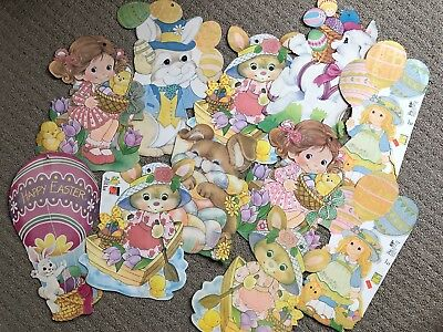 Vintage Easter Decorations Die Cut Lot of 11 Bunnies Lamb Double Sided
