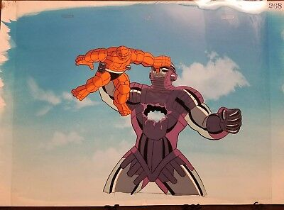 Original FANTASTIC FOUR Animated Series 90's Production Animation Cel w/ Bkgd