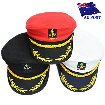 Adult Sailor Ship Navy Military Captain Nautical Hat Cap Fancy Dress Costume AU