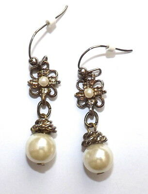 Vintage Antique Gold tone Ornate Pearl Drop Dangle Earrings Victorian Style
