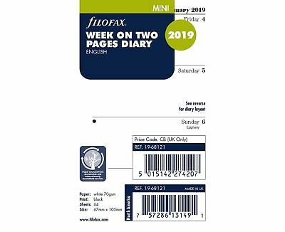 Filofax 2019 Refill - Mini, Week On Two Pages, English (19-68121) NEW. Free Post