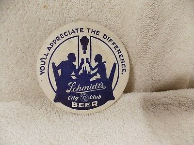Vintage Collectible Advertising Coaster Schmidt's City Club Beer You'll Apprecia