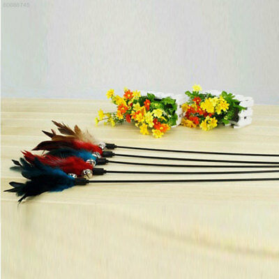 0268 77C9 Fun Hand Created Toy Cat Feather Bell Wand Teaser Rod Interactive Toys