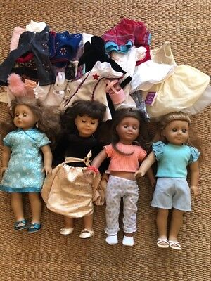 Large Lot of American Girls dolls (four!) and tons of clothing/shoes/accessories
