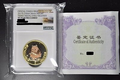 2017 Singapore Coin Fair China Panda 30mm Piefort Tri-metal Medal PF70 UC RARE
