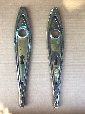 2 Vintage Stamped Brass  Tear Drop Door Knob Back Plate Escutcheon