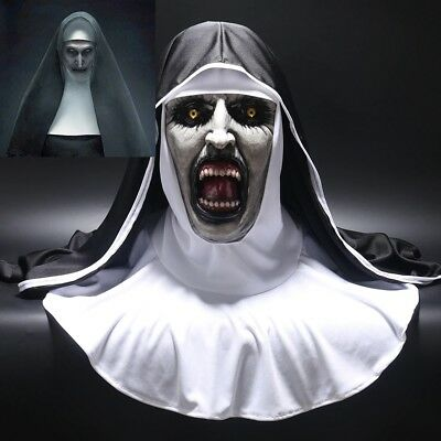 The Nun Horror Mask Costume Valak Halloween Cosplay Scary Masks With Headscarf