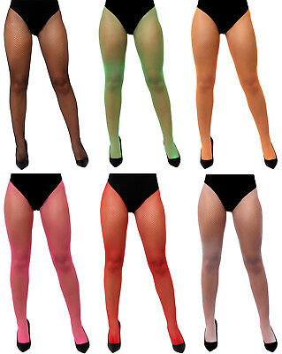 ab4381a7c798e Adult Fishnet Tights Mesh Neon 1980S Fancy Dress Costume Accessory Choose  Colour