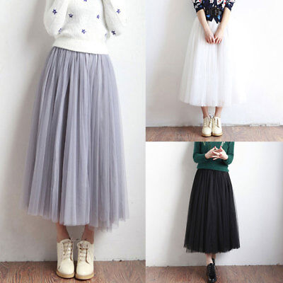 Womens Multi Layer Tulle Pleated Retro Long Maxi Tutu Dress High Waist Skirt AU