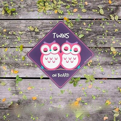TWINS on Board. Owl (Baby on Board) Twin Girls - Safety Car Sticker/Baby Gift