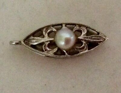 VINTAGE 9ct Gold  Bead/Pearl Fastener With Seed Pearl Clasp 0.6g - NR