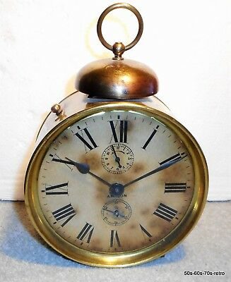 "C1920's American Ansonia Clock Co. 'Amazon' Brass Striking Alarm Clock - 9"" Tall"