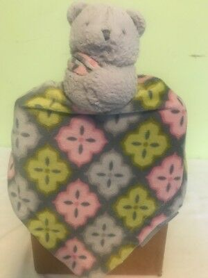 Lovey Security Blanket Infant Bear Grey Pink Green By Blankets And Beyond