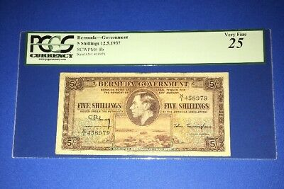 PCGS Currency Graded Bermuda-Government 5 Shillings Banknote P8b 1937