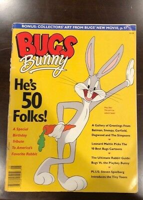"BUGS BUNNY 50TH ANNIVERSARY ""HE'S 50 FOLKS!"" MAGAZINE w/Transparency layout etc"