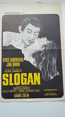 Slogan Belgian Movie Poster Serge Gainsbourg Jane Birkin Daniel Gélin