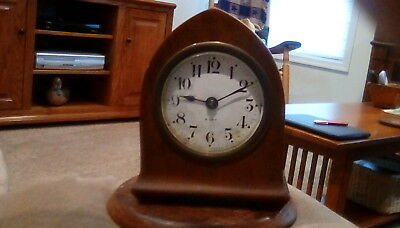Antique 5 inch Seth Thomas Beehive 8 Day Clock. Mechanical Key Wind Wooden Case