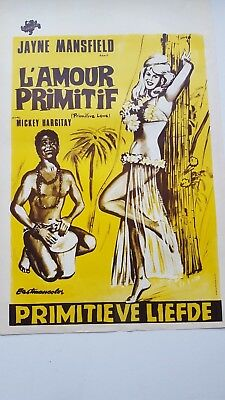 Primitive Love Belgian Movie Poster Jayne Mansfield Mickey Hargitay